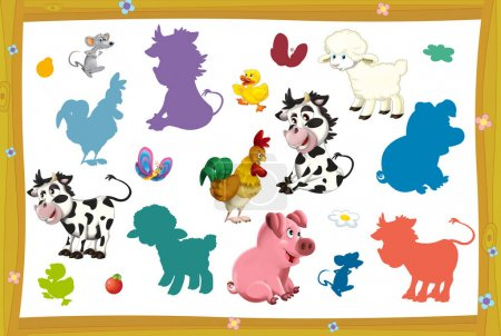 farm different animals - game with shapes