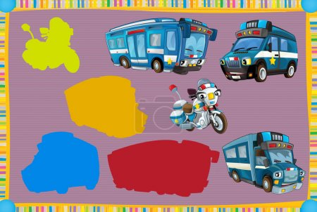 Cartoon guessing game with police vehicles