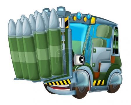Cartoon military forklift isolated car
