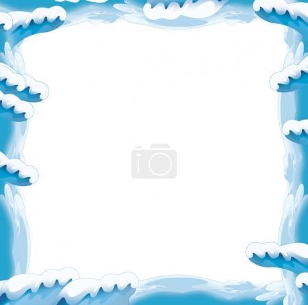 Cartoon snow and ice frame