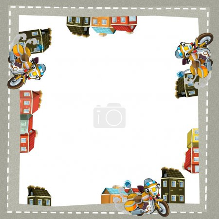 Cartoon frame of a motorcycle in the city on the road