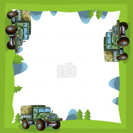 Cartoon frame of a military truck in the forest off road
