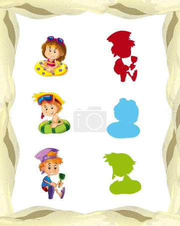 Cartoon frame with children on the beach playing