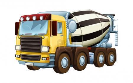 Cartoon industry truck concrete mixer