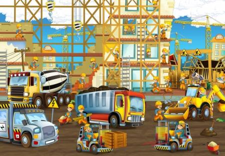 construction site with heavy machines and workers