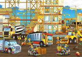 Staveniště s těžkých strojů a pracovníků