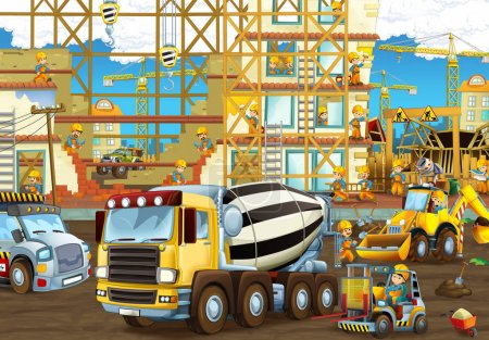 construction site with heavy machines and worker
