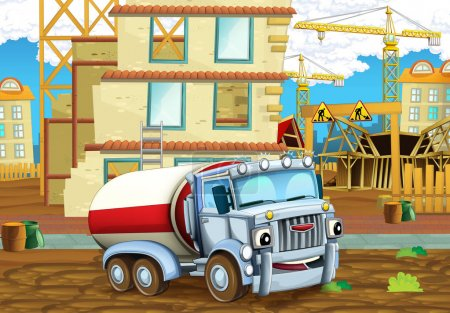 construction site with heavy truck cistern