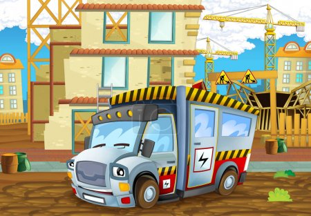 construction site with heavy electricity truck