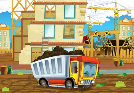 construction site with heavy truck loader