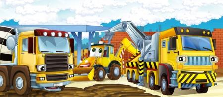 Construction Site With Different Heavy Machines