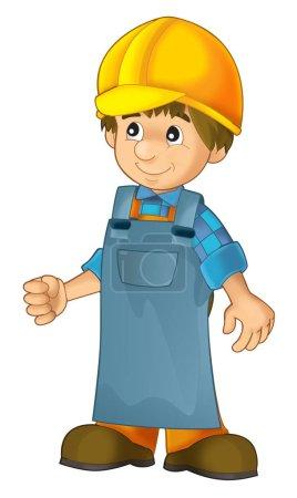 Photo pour Travailleur de la construction dessin animé dans un revêtement de sécurité supplémentaires - image libre de droit