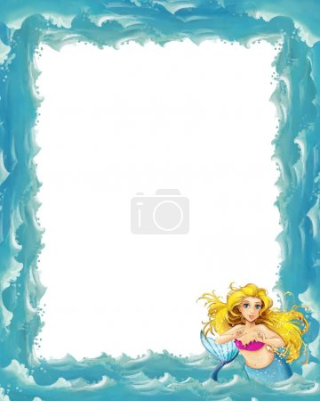 Cartoon sea frame with mermaid