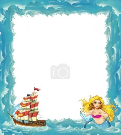 sea frame with mermaid and wooden ship