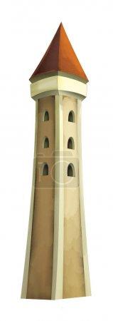 Foto de Cartoon fairy tale scene with castle tower - illustration for children - Imagen libre de derechos
