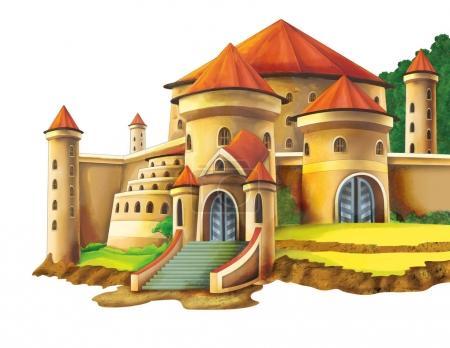 cartoon castle on white background