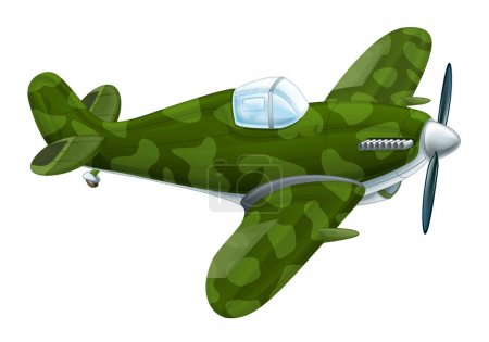 traditional military plane with propeller flying