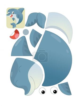 cartoon character puzzle - isolated dolphin
