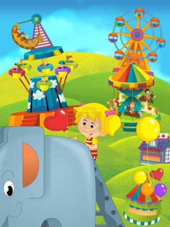cartoon children having fun on a playground