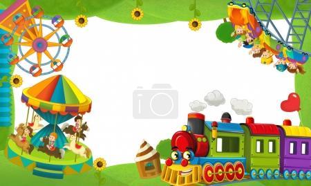 cartoon funfair locomotive - playground
