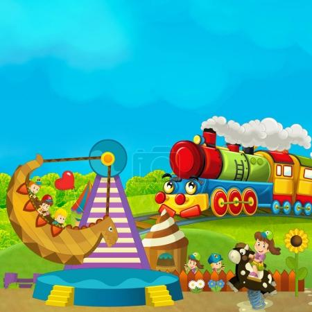 funfair - amusement park with steam train
