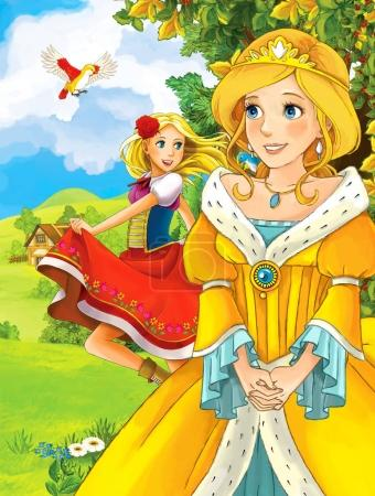 Cartoon scene with cute princesses in the forest