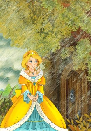 princess going to the tree house during rain