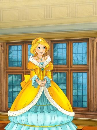 Foto de Escena de dibujos animados con la hermosa princesa de pie en algunas habitaciones del castillo - ilustración para los niños - Imagen libre de derechos