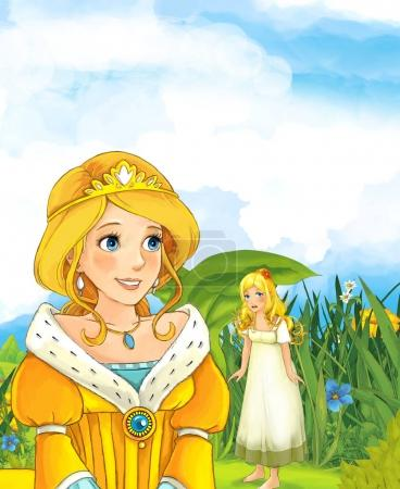 princess looking at girl standing under the leaf