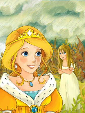 princess meeting other girl during rain in the meadow