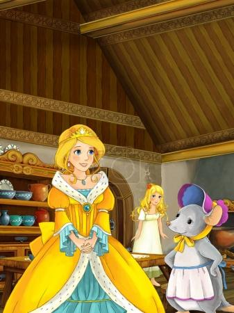 princess talking to young girl and mouse