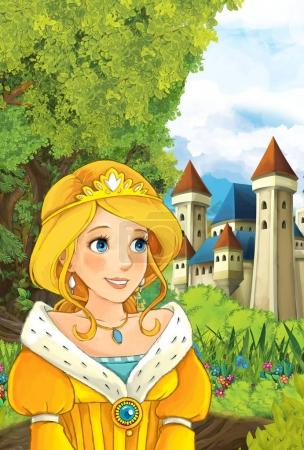 princess looking at castle in the background