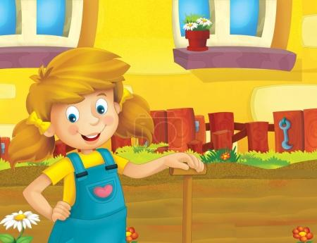 cartoon scene with happy girl working on the farm - standing and smiling / illustration for children