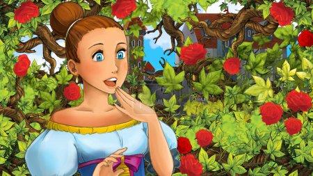 Photo pour Scène de la bande dessinée de belle princesse dans l'illustration de jardin - château en arrière-plan - pour enfants - image libre de droit
