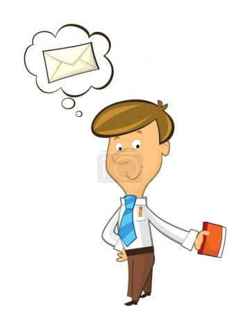 office cartoon clerk standing thinking about sending some mail - isolated