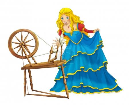 Cartoon beautiful girl smiling standing near spinning wheel - some activity - illustration for children