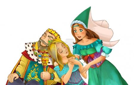 Cartoon married couple happy together sleeping sorceress staying near them - illustration for children