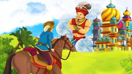 cartoon scene with young prince - giant sorcerer flying over beautiful castle illustration for children