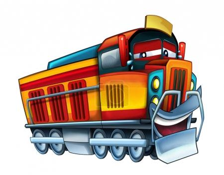 cartoon happy looking train - illustration for children