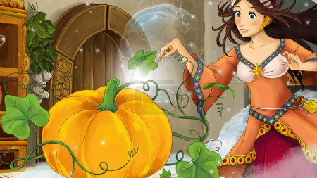 cartoon scene with woman sorceress in the kitchen casting spell on pumpkin - illustration for children