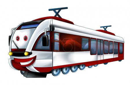 Cartoon funny and happy looking fast train - illustration for children