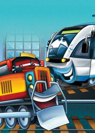 cartoon scene with happy and funny looking trains - illustration for children