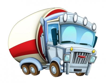 Cartoon happy and funny looking cistern truck - illustration for children