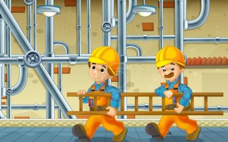 Cartoon scene with repairmen in the basement worki...