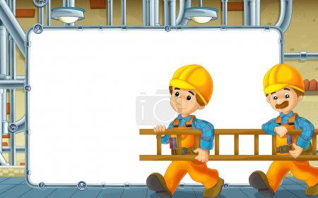 Photo pour Scène de dessin animé avec les constructeurs travaillent dans le sous-sol - avec illustration image - espace pour texte - pour les enfants - image libre de droit