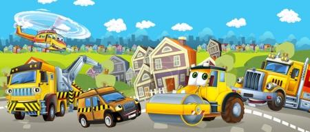 Cartoon tow truck, road roller and pilot car - illustration for children