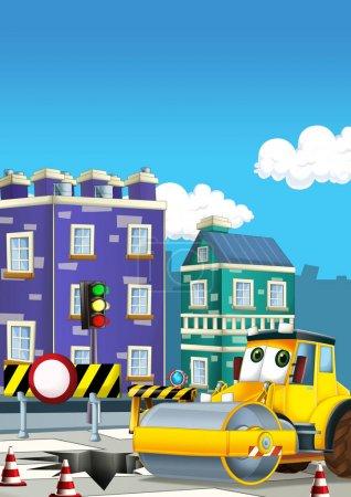 Cartoon road roller truck in the city - illustration for children