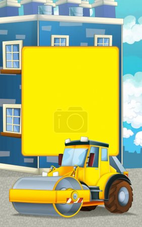 cartoon scene with road roller in the city - illustration for children