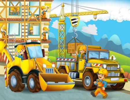 cartoon scene with workers on construction site - builders doing different things - illustration for children
