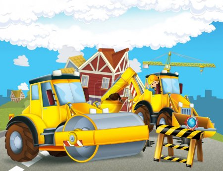 cartoon scene with construction site - worker doing some job - illustration for children